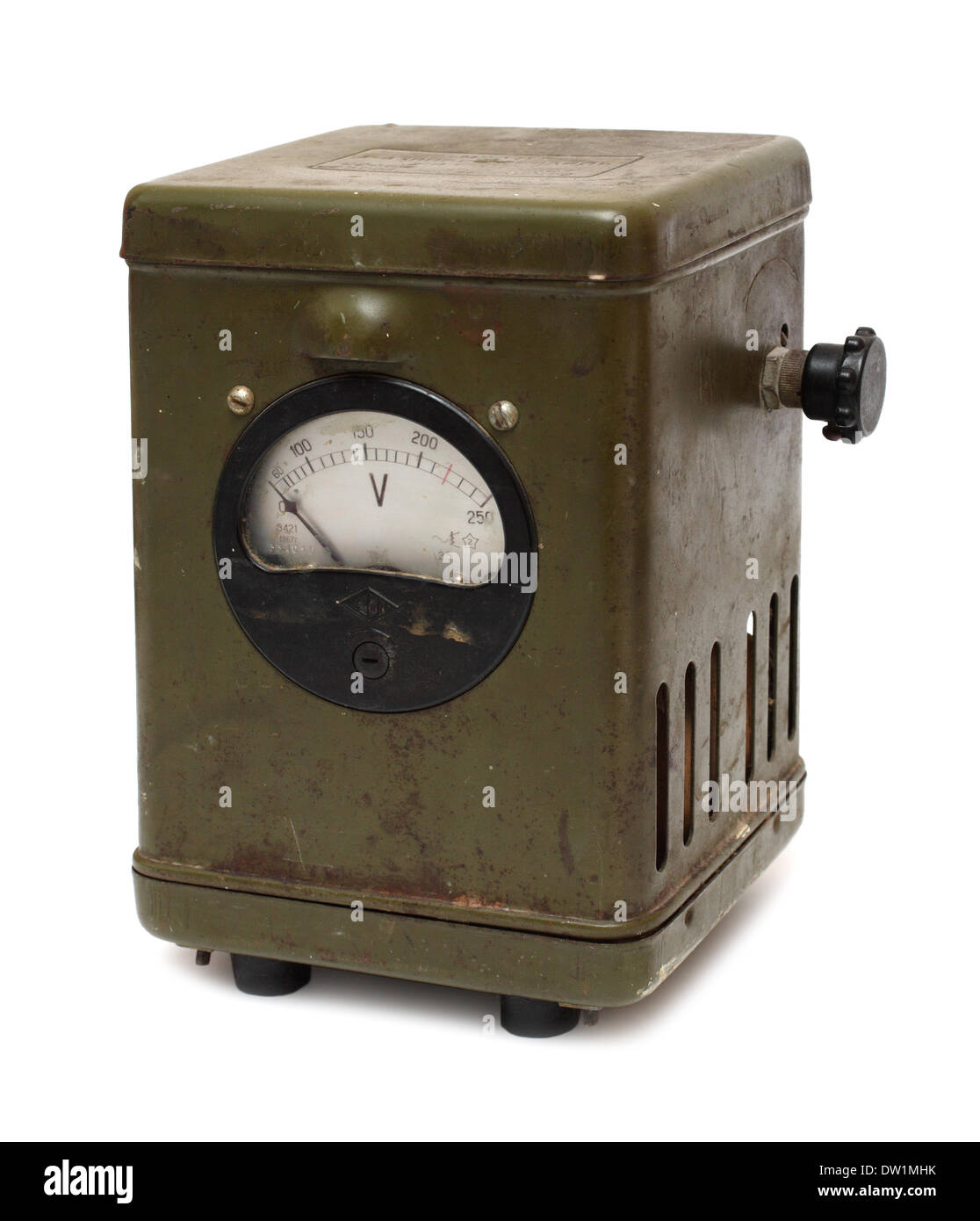 old obsolete electric voltmeter device - Stock Image