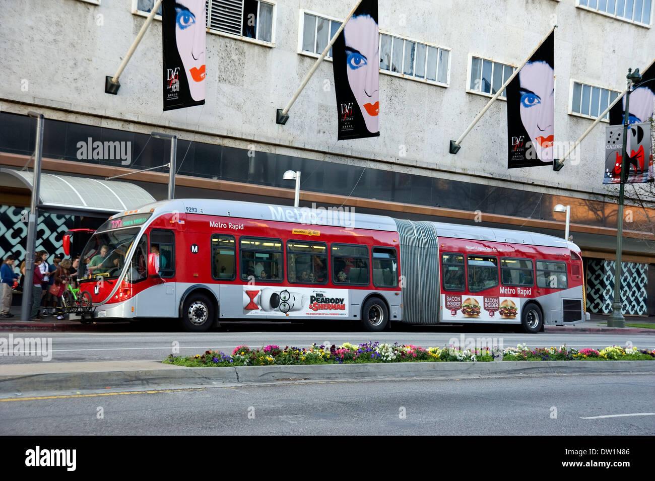 public transportation bus in Los Angeles on Wilshire Blvd. - Stock Image
