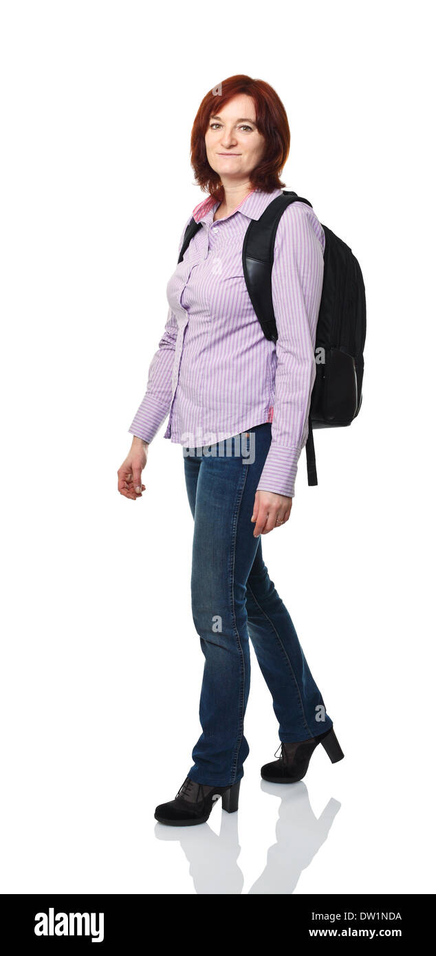 woman with backpack - Stock Image