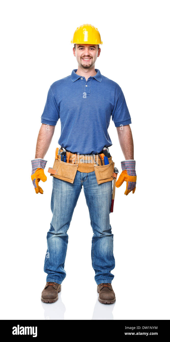 isolated manual worker - Stock Image