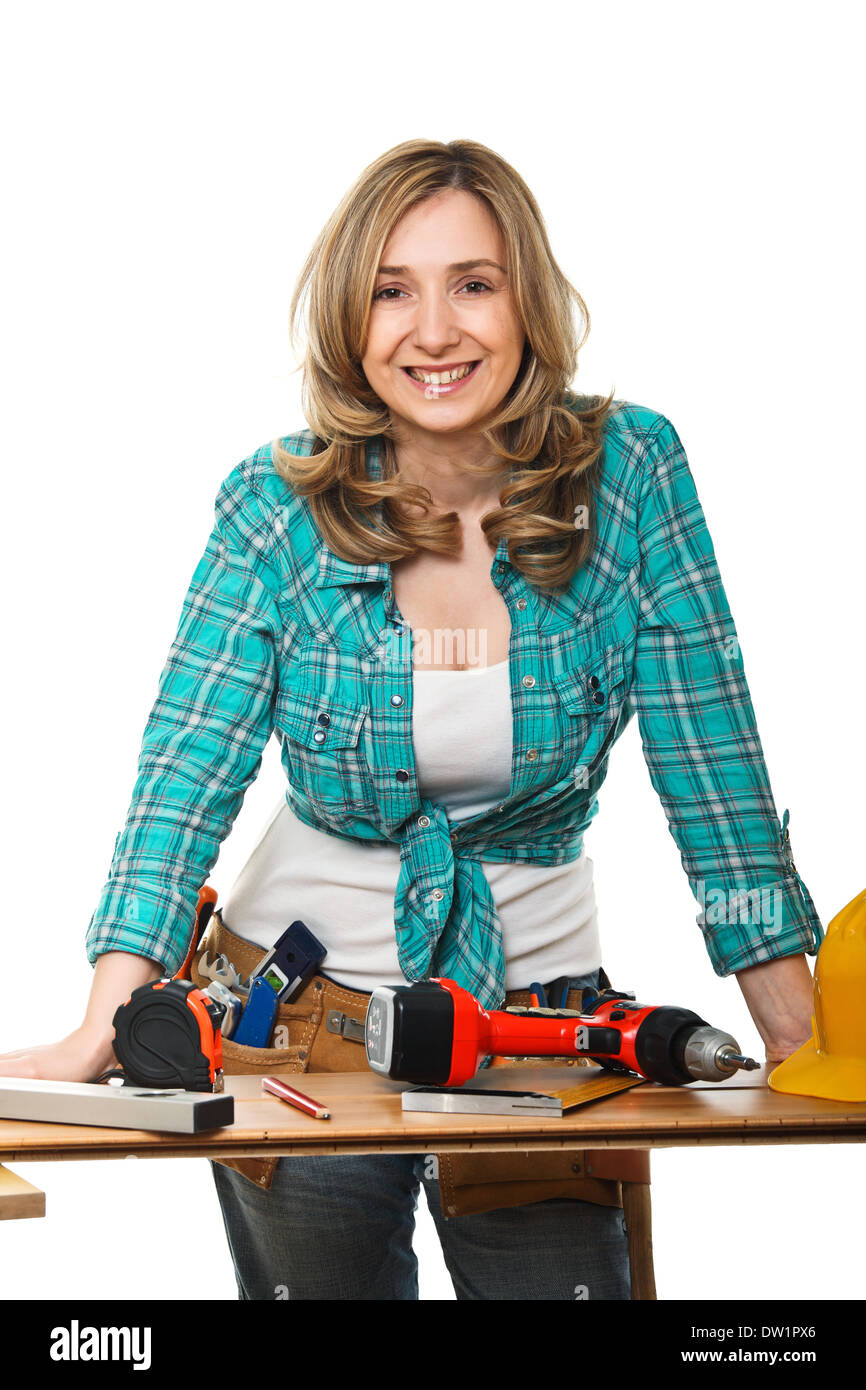 constructor woman - Stock Image