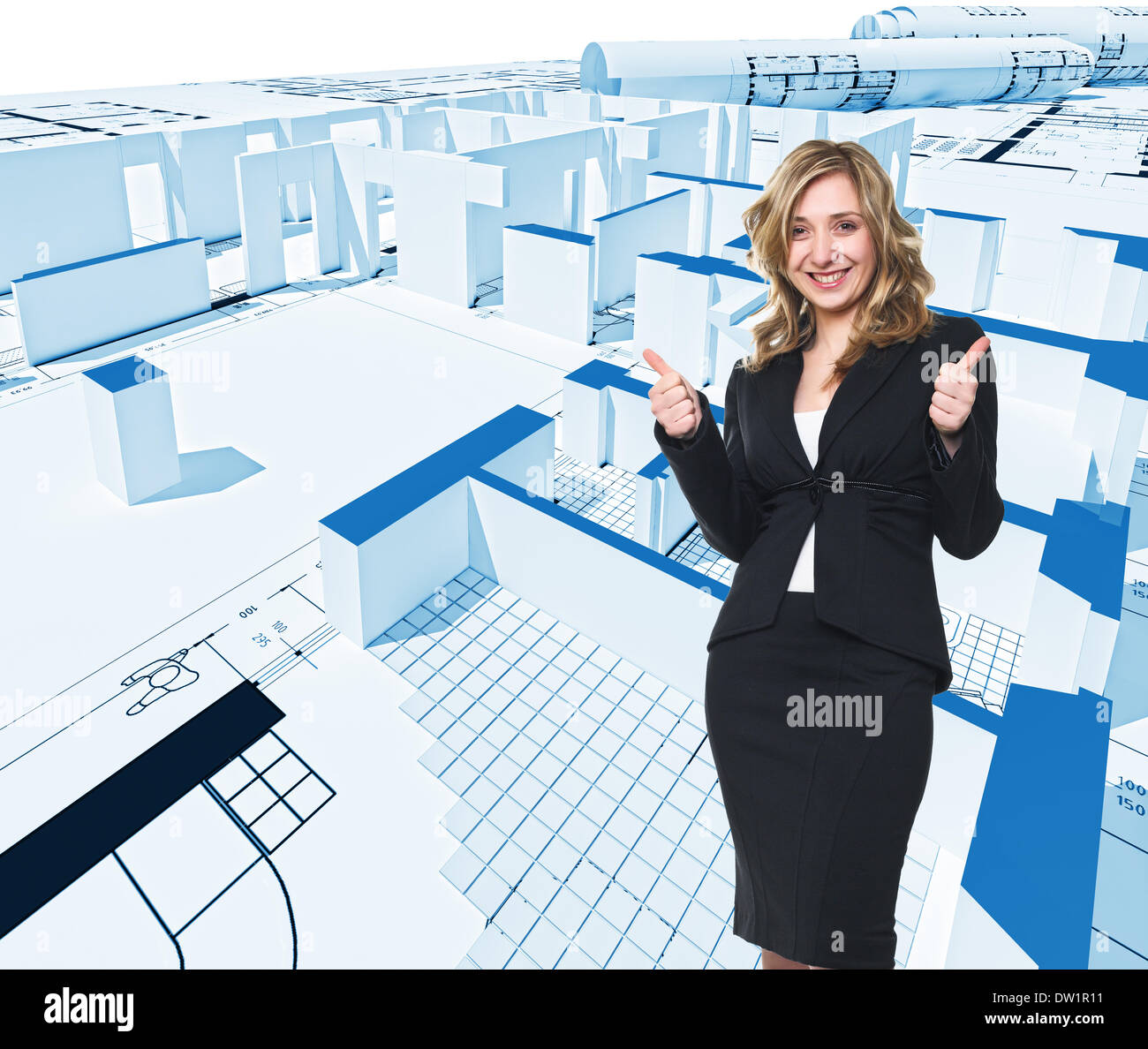 woman and blueprint - Stock Image