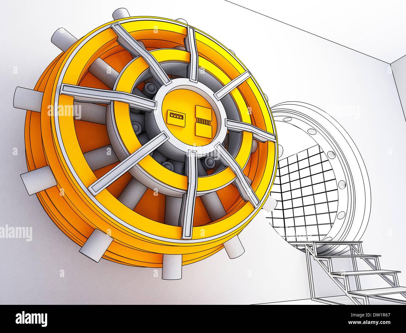 bank vault door - Stock Image