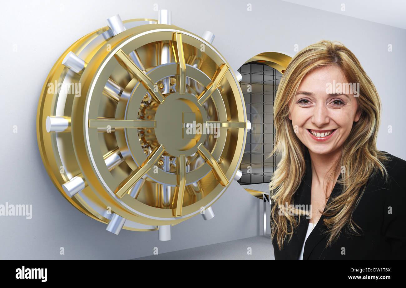 woman and bank - Stock Image
