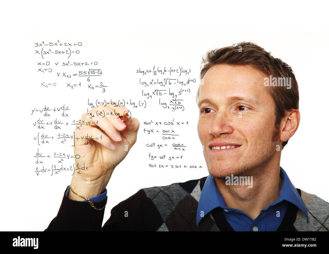 man write maths formula - Stock Image