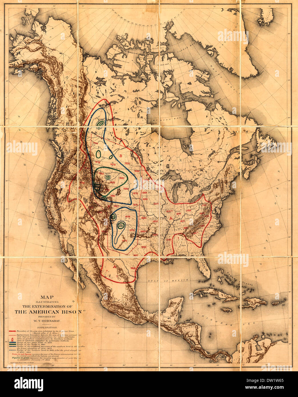 Map illustrating the extermination of the American bison / Shows areas of die-off and of systematic extermination, range of herds up to 1889, and years of extermination in specific locations 1889 - Stock Image