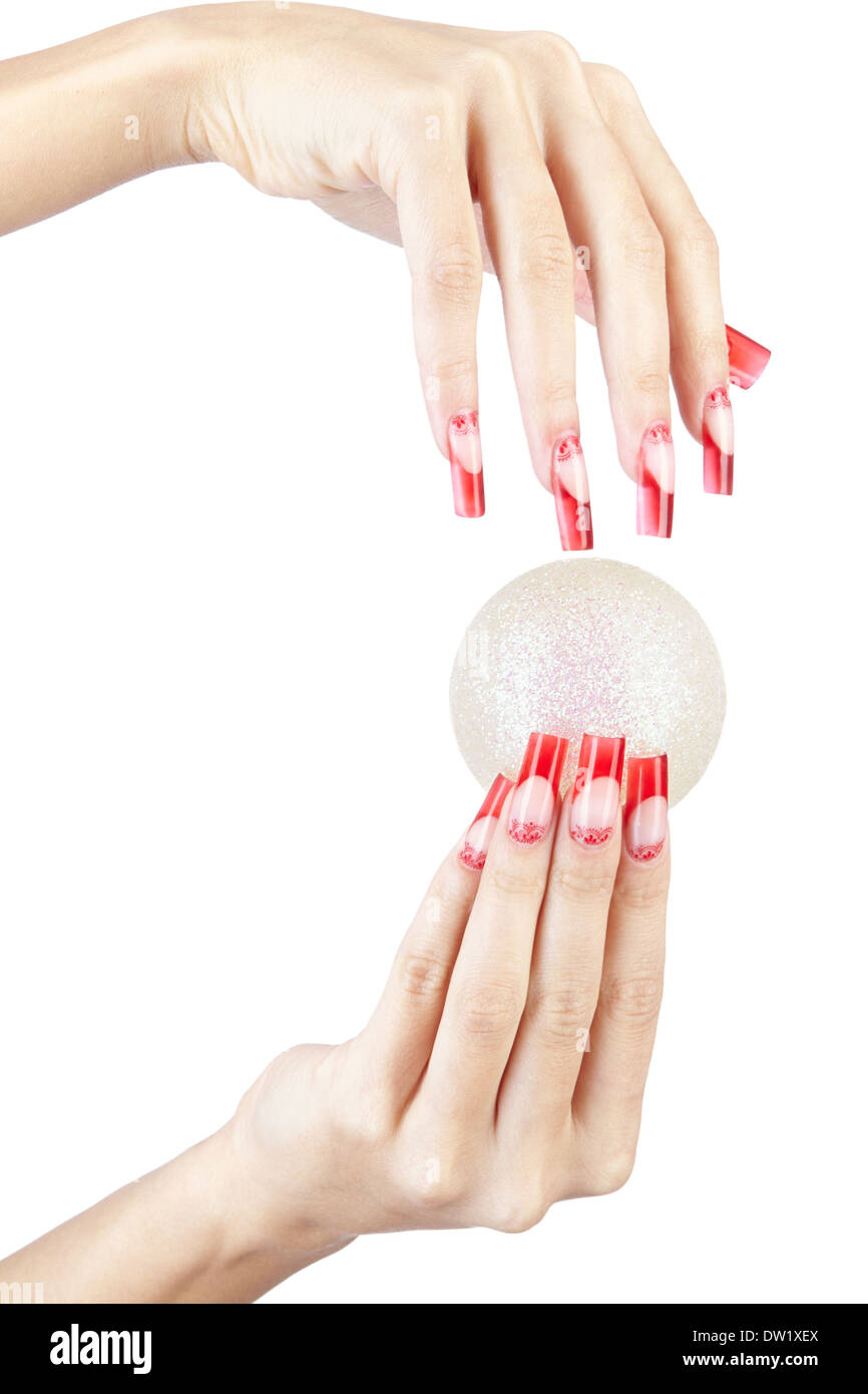 Hands with red french false acrylic nails manicure holding