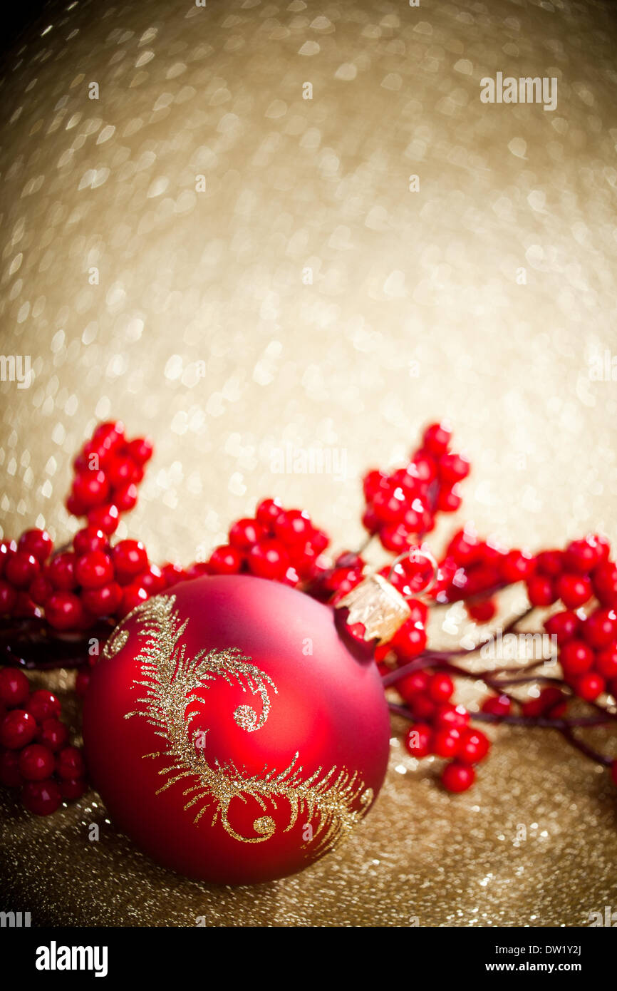 Christmas decoration with european holly Stock Photo