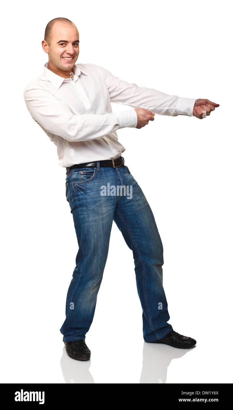 man pull pose - Stock Image