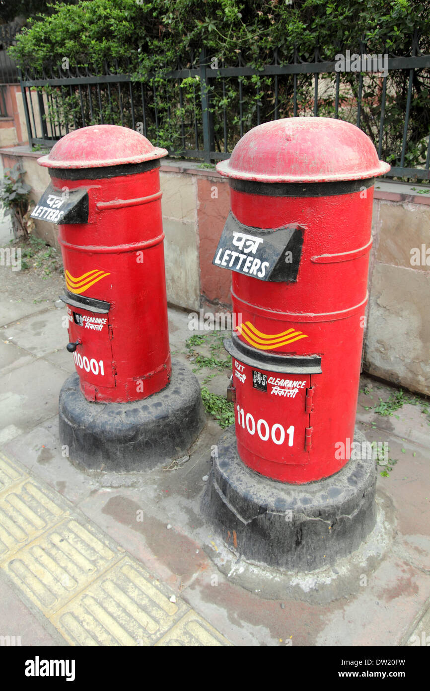 red letter boxes in india - Stock Image