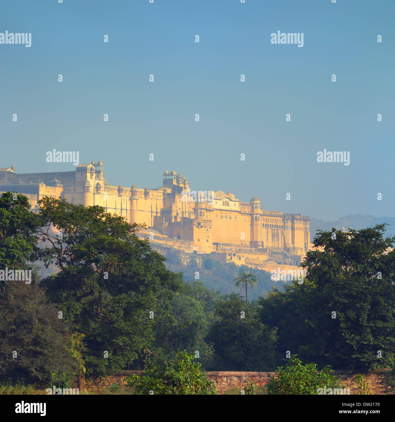 landscape with Amber fort in India - Stock Image