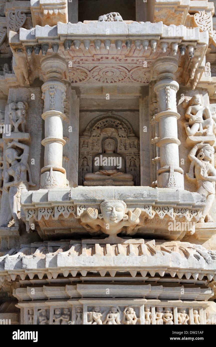 hinduism ranakpur temple fragment - Stock Image