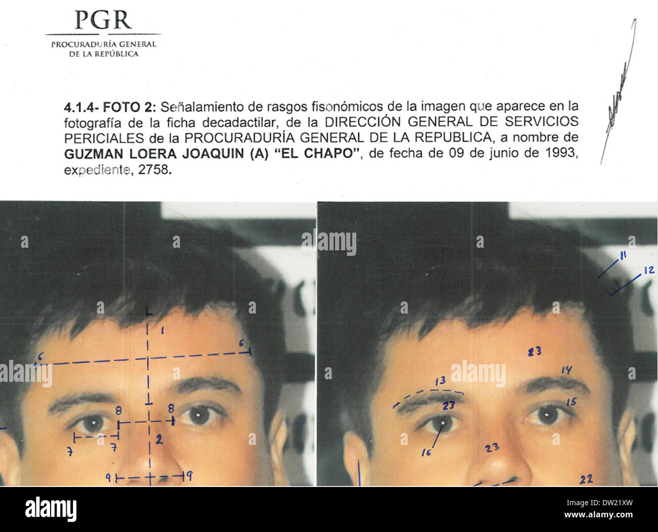 Mexico City. 25th Feb, 2014. This combo of photographs released by Mexico's Attorney General Office (PGR) with identification mapping marks made by the source to point out similarities in face measurements, shows Joaquin 'El Chapo' Guzman, using images made from his 1993 detentions. The Sinaloa Cartel leader was subjected to a buccal swab, a phisiognomic identity study and a test of 10 fingerprints Credit:  Mexico's Attorney General Office/Xinhua/Alamy Live News - Stock Image