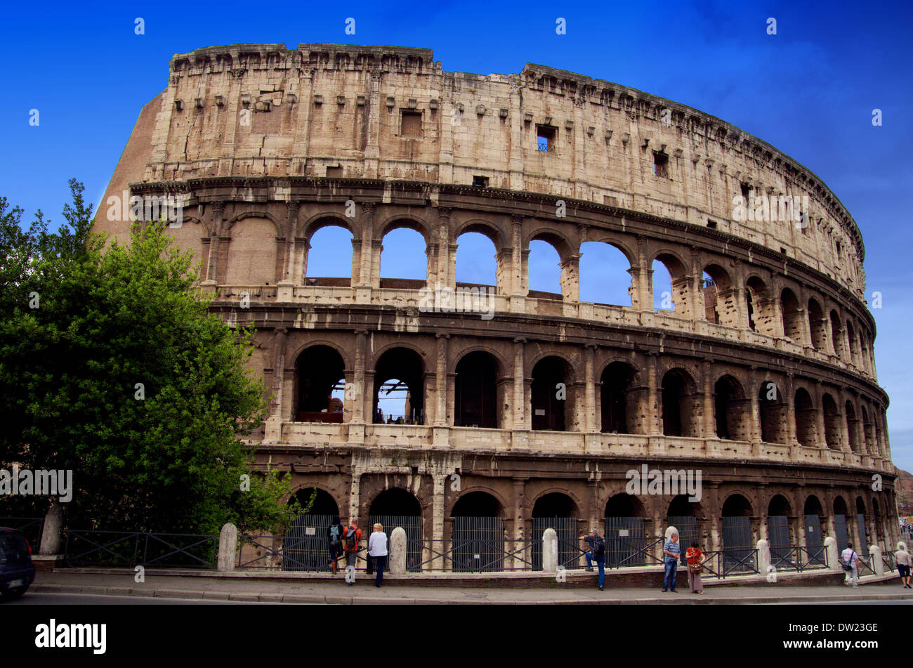Famous Roman Colosseum (amphiteatre) in Rome in summer time Stock Photo