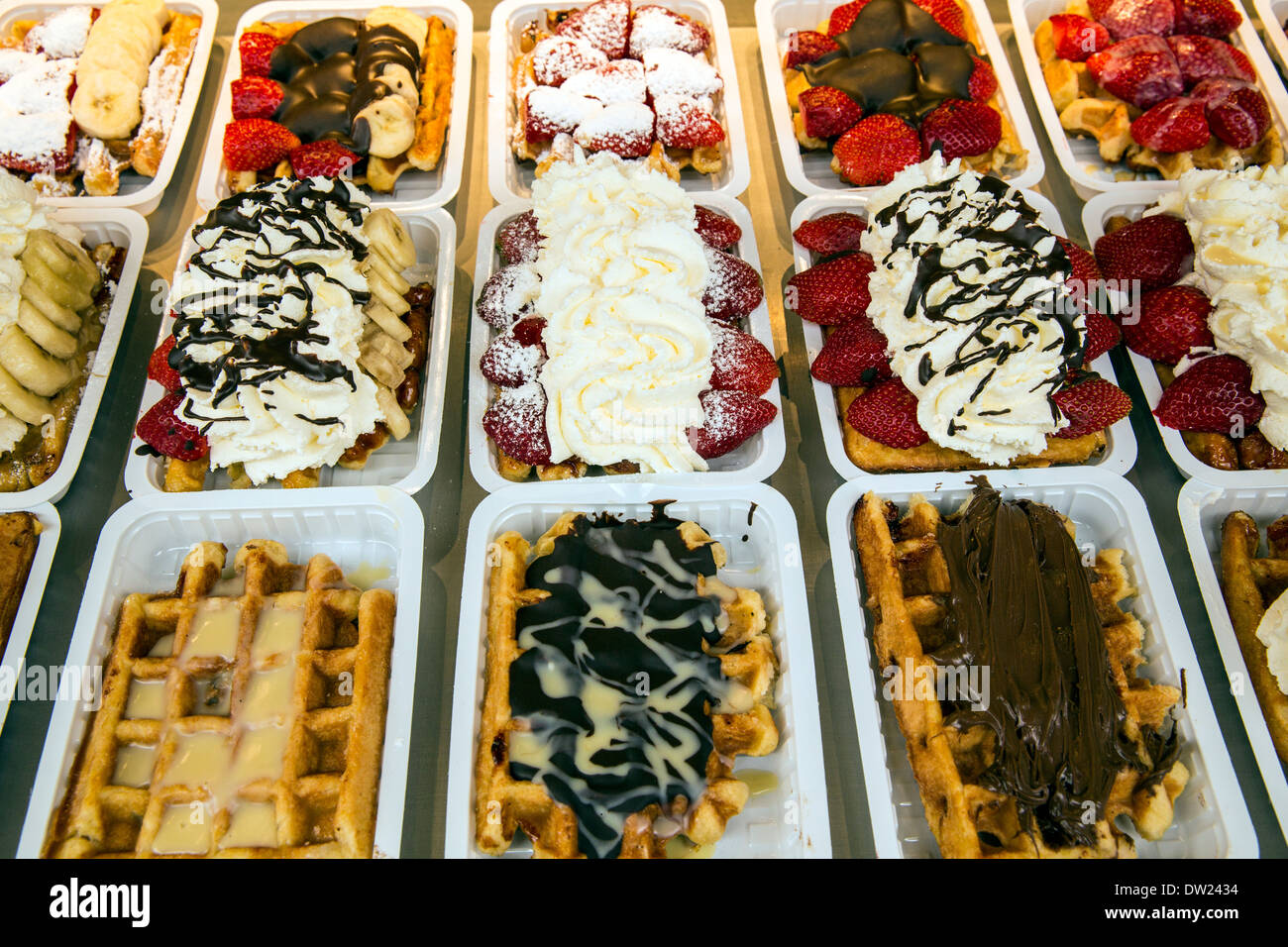 Belgian waffles displayed in Brussels - Stock Image