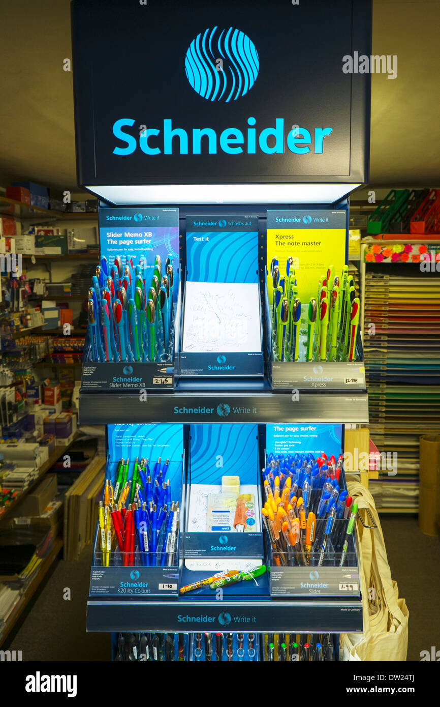 Schneider pen pens display stand in stationary stationers shop store selling - Stock Image