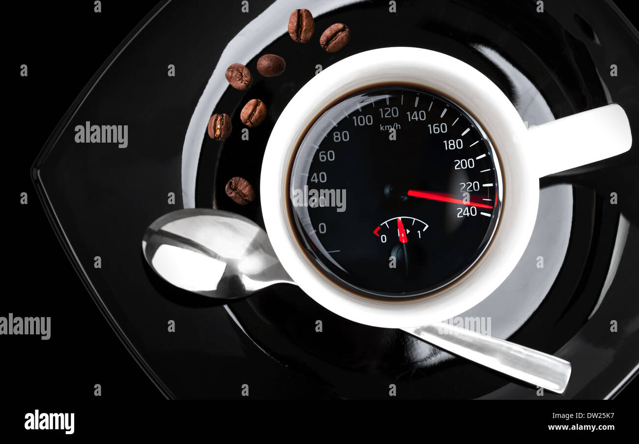 Coffee cup with speedometer, metaphor of people acceleration - Stock Image
