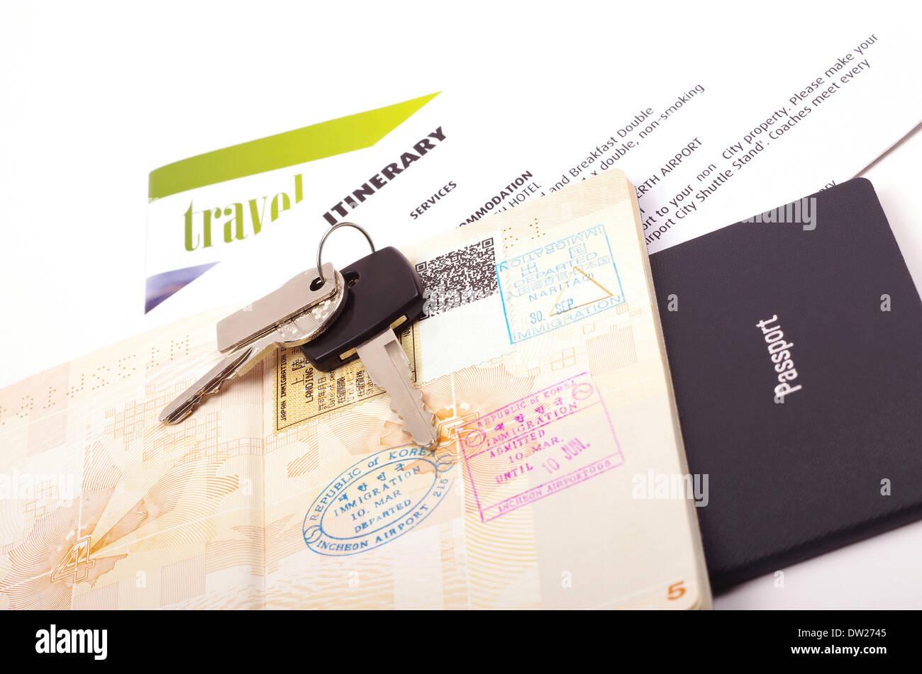 holiday travel documents - Stock Image