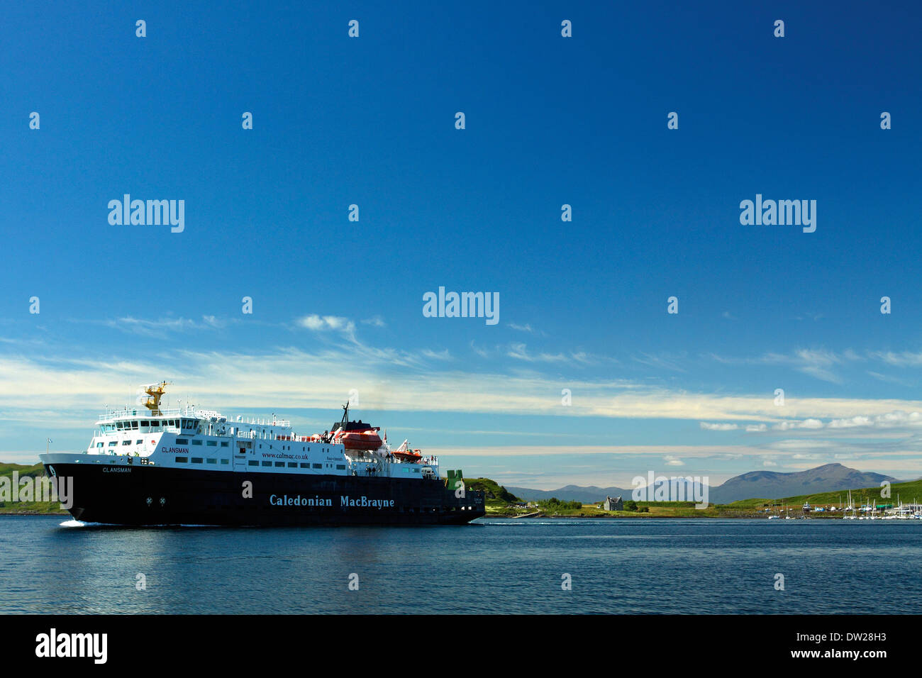 Caledonian MacBrayne Ferry and Mull from Oban - Stock Image