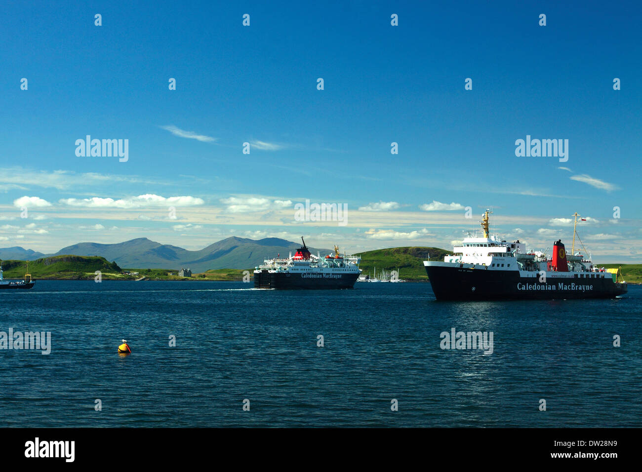 Caledonian MacBrayne Ferry and Mull from Oban Stock Photo