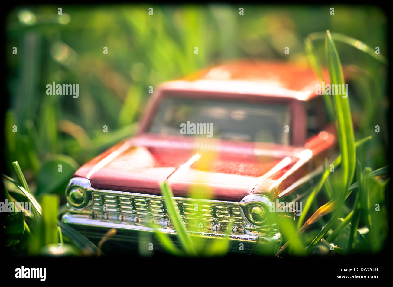 Red Toy Car On Grass Stock Photo 67048537 Alamy