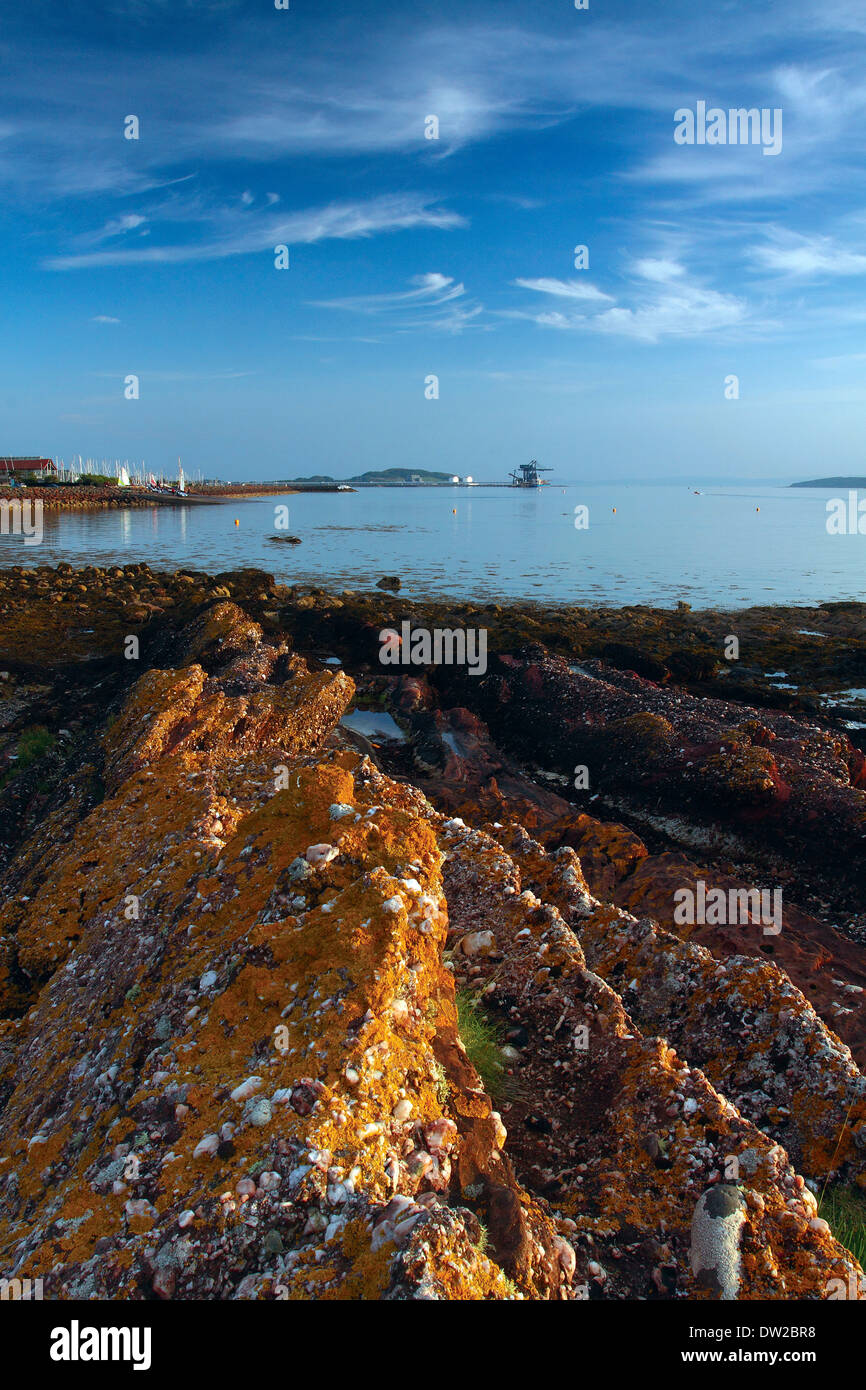 The Firth of Clyde at dusk from The Pencil, Largs, Ayrshire Coastline - Stock Image