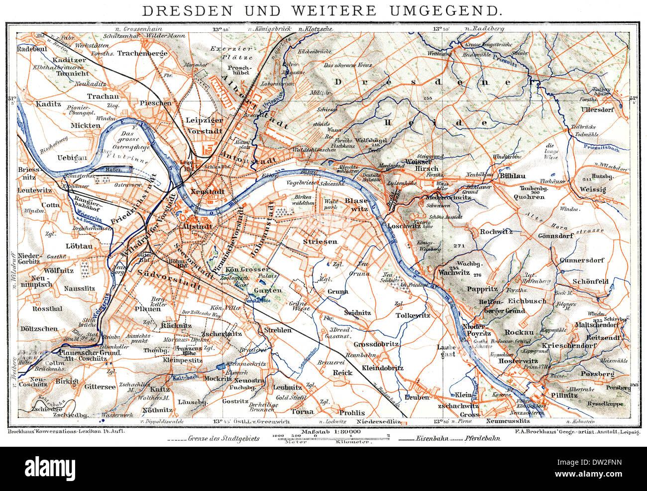 Map of Dresden, Germany, Europe, end of the 19th century, Stadtplan von Dresden, Deutschland, Europa, Ende des 19. Jahrhundert, - Stock Image