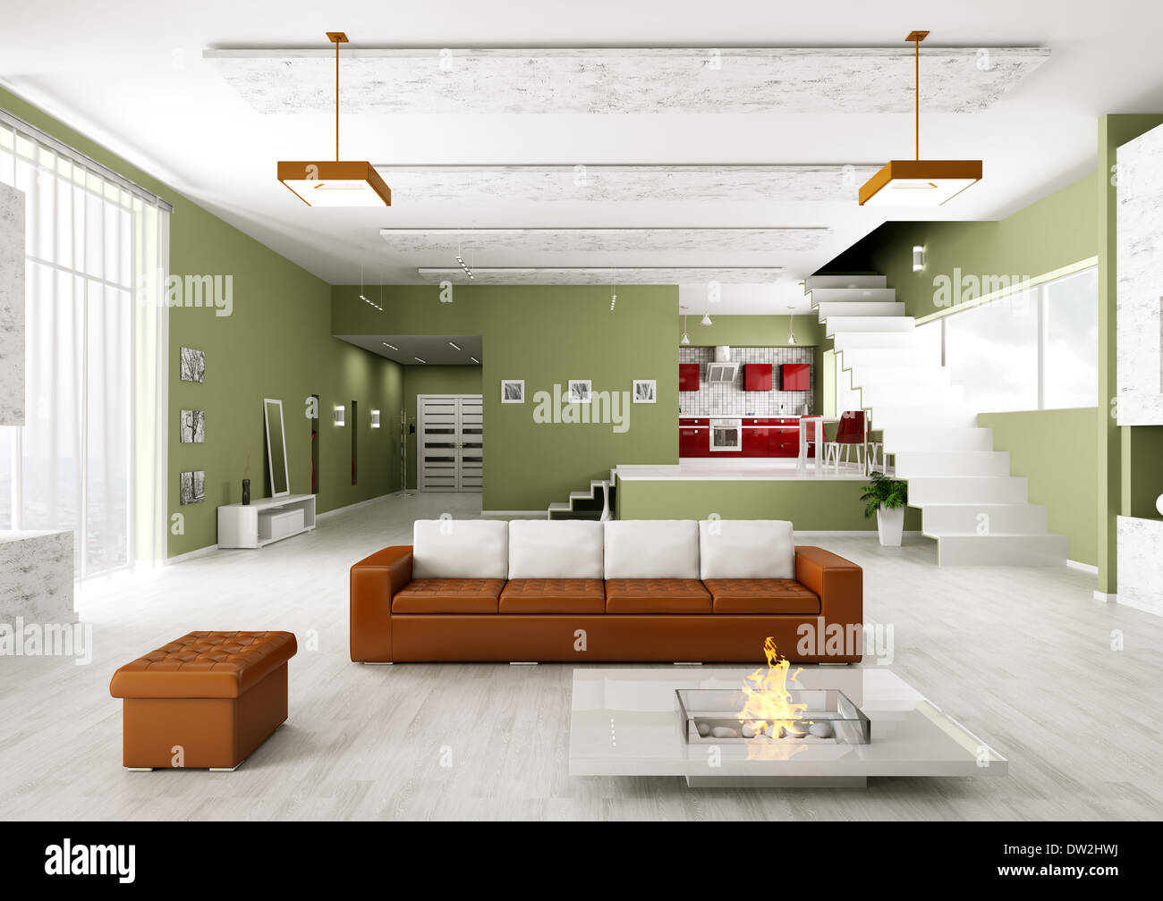 Interior of modern apartment living room hall kitchen Stock Photo