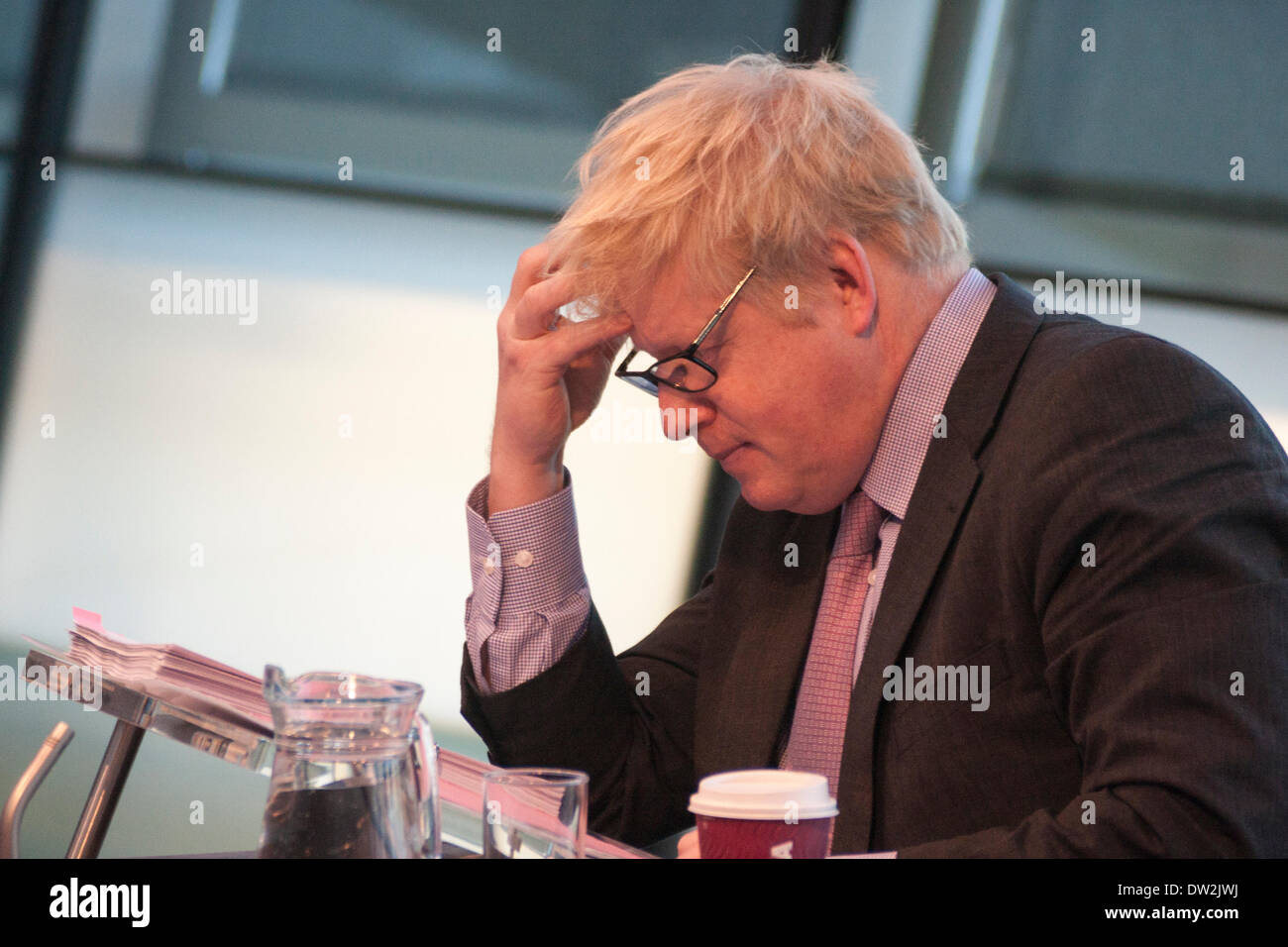City Hall, London, February 26th 2014. London Mayour Boris Johnson fields questions relating to the Barclays-sponsored cycle hire scheme during the London Assembly's Mayor's Question Time Credit:  Paul Davey/Alamy Live News - Stock Image