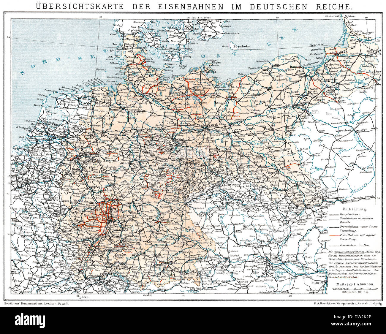 Historical map of German Empire, 1894, state railways and private railways, - Stock Image