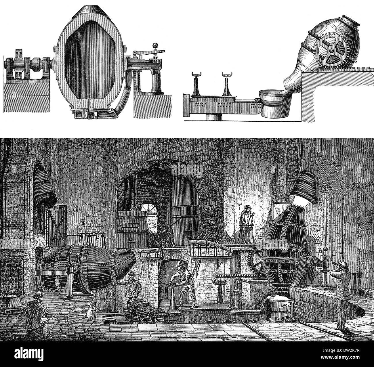 Technical processing of iron in different blast furnaces, 1894, technische Eisenverarbeitung in verschiedenen Hochöfen, Stock Photo