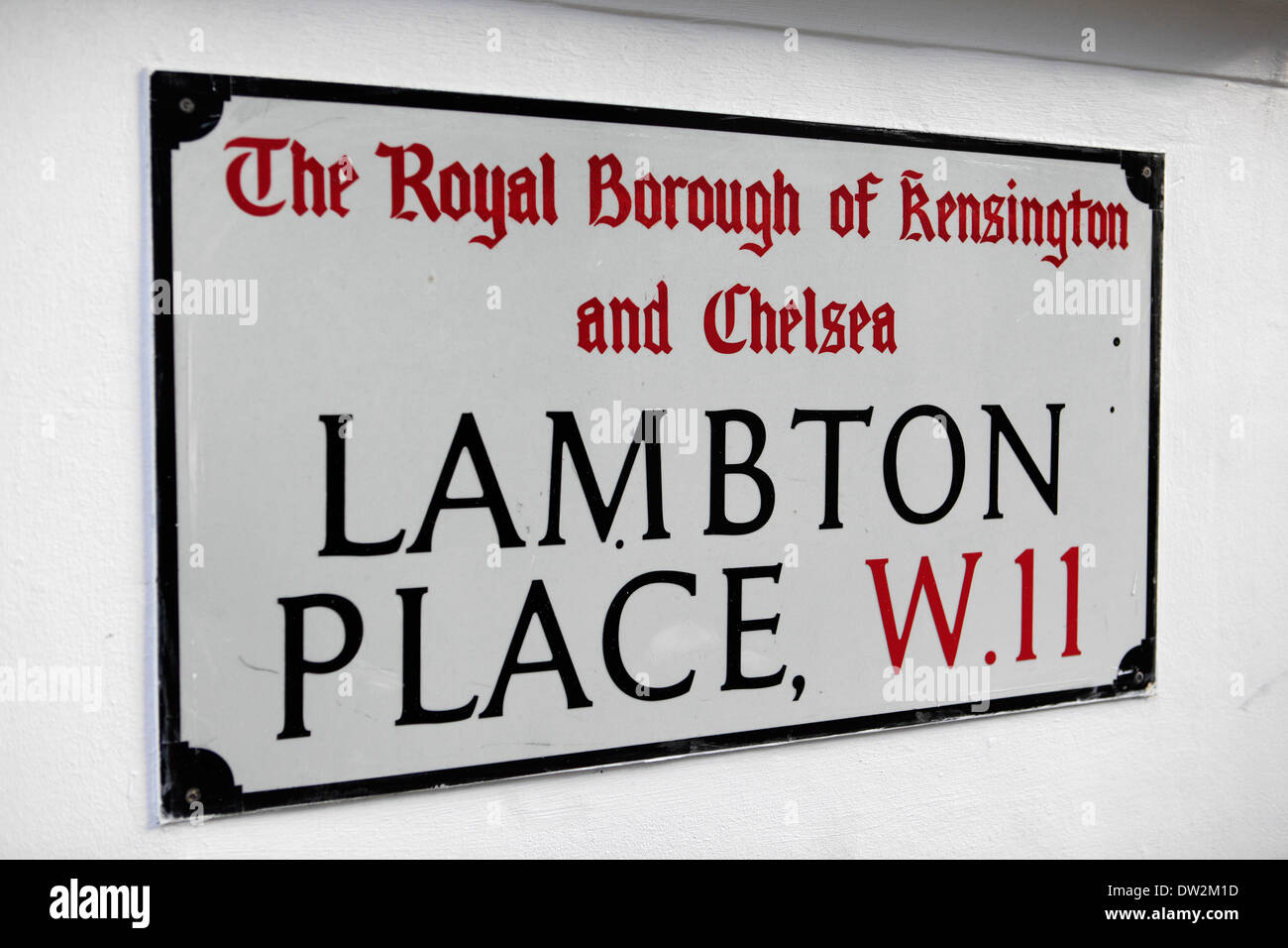 united kingdom london royal borough of kensington and chelsea lambton place w11 street sign - Stock Image