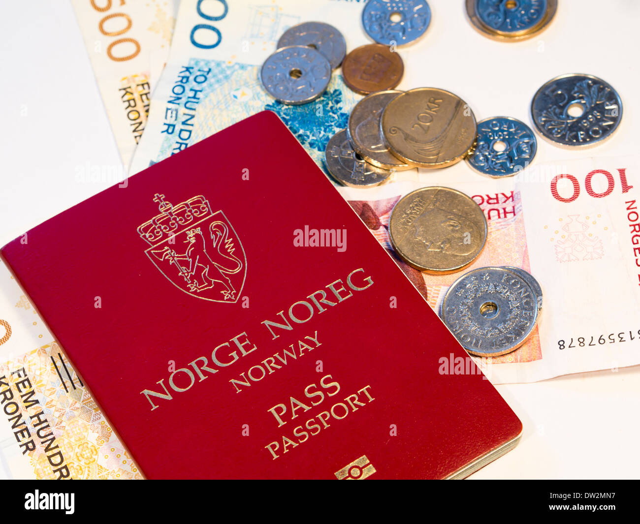 Norwegian nationality, passport and currency - Stock Image