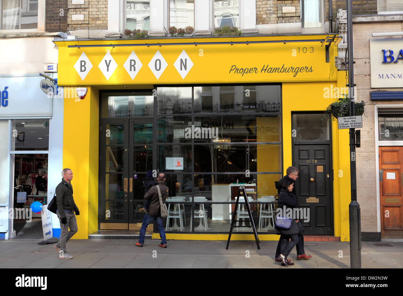 united kingdom london royal borough of kensington and chelsea 103 westbourne grove byron proper hamburgers shop Stock Photo