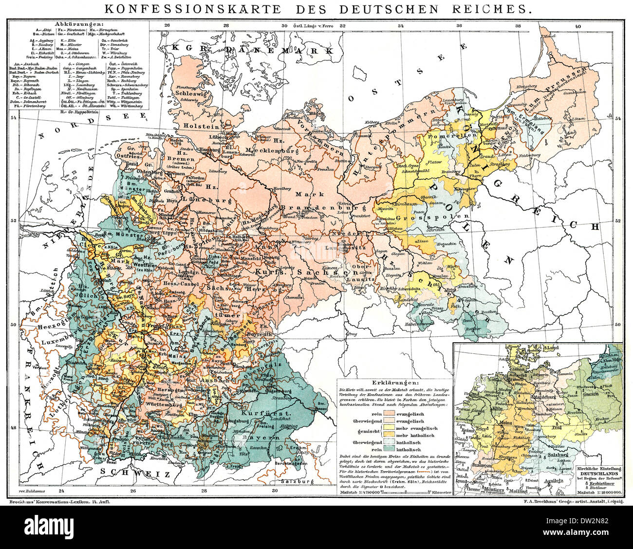 The religious situation in the German Empire about 1895, Religionszugehörigkeit im Deutschen Reich, ca. 1894 - Stock Image
