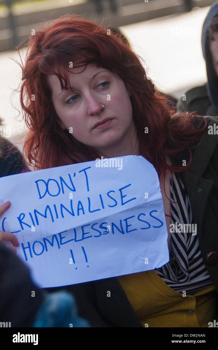 London, February 26th 2014. A small group of demonstrators protest against the 'criminalisation of the homeless' outside City Hall during the Mayor's Question Time. Credit:  Paul Davey/Alamy Live News - Stock Image