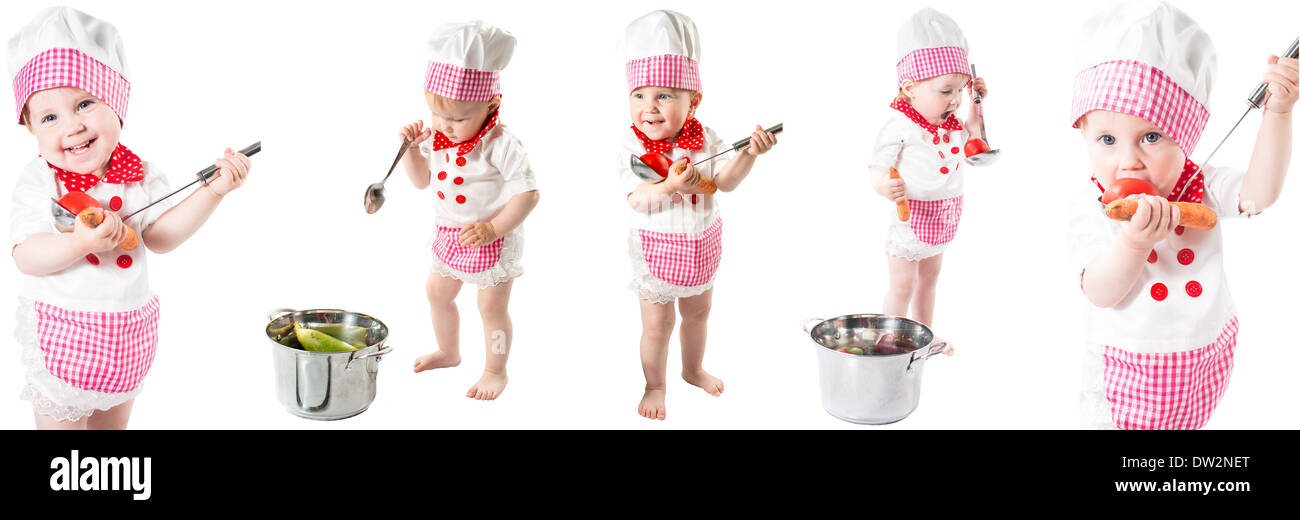 7e38e13e8ac Baby cook girl wearing chef hat with fresh vegetables and fruits. Use it for  a