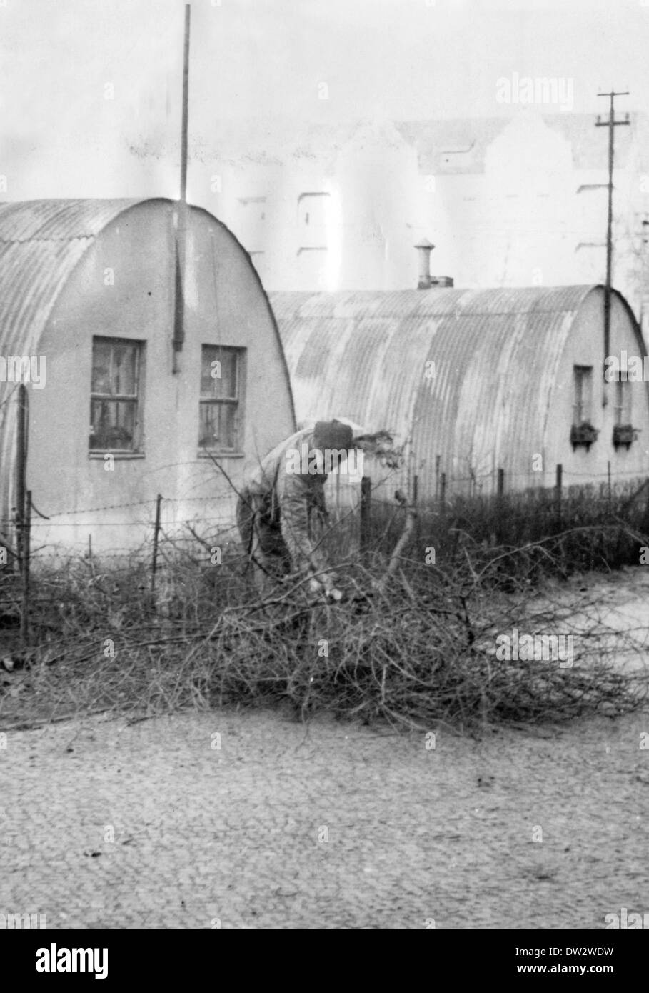 A man collects firewood in front of Nissen huts, which were erected after the end of the war in 1945 and served Stock Photo