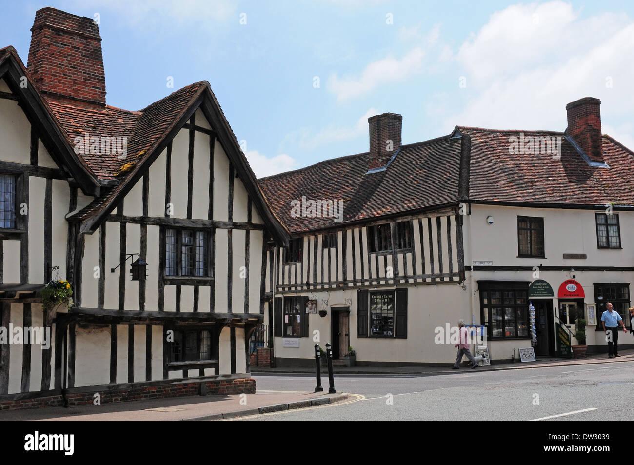 Timberframed houses in Church Street, Lavenham. - Stock Image