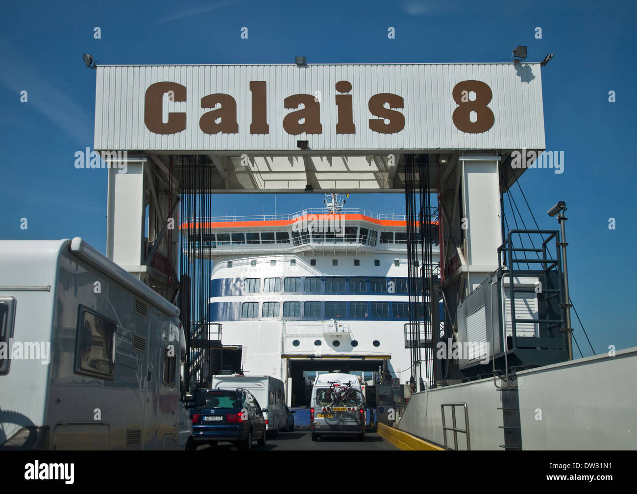 View from Boarding Ramp onto P&O Ferry Spirit of Britain, Port of Calais, France - Stock Image