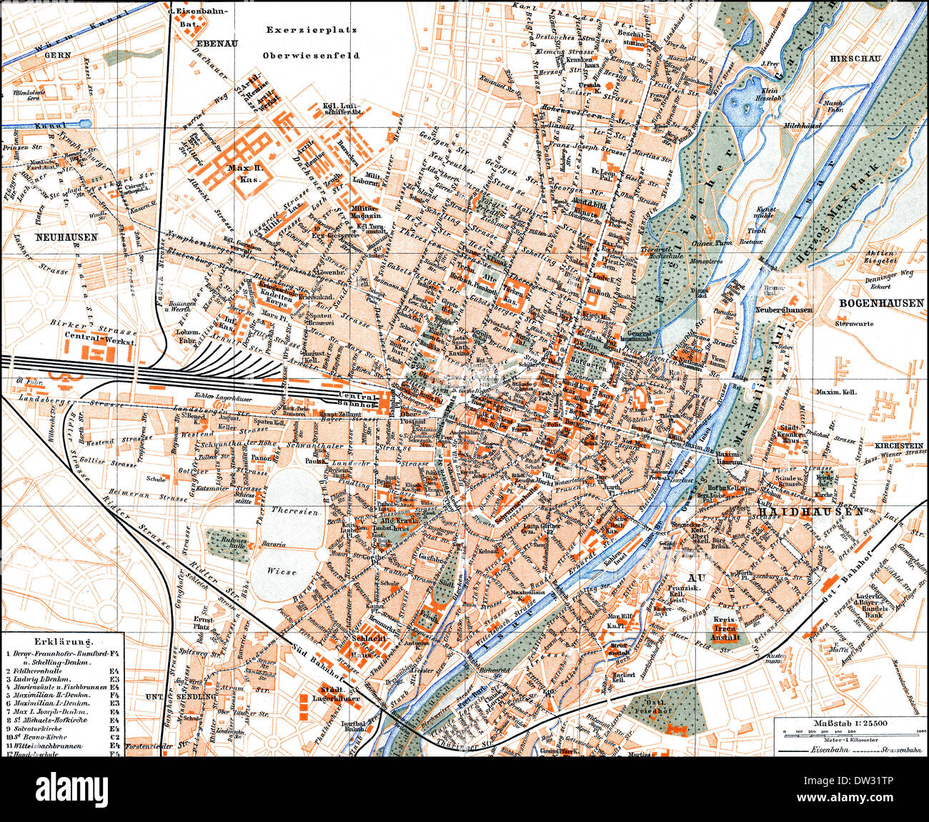 Historical Map Of Munich Germany 1896 Stock Photo 67064838 Alamy