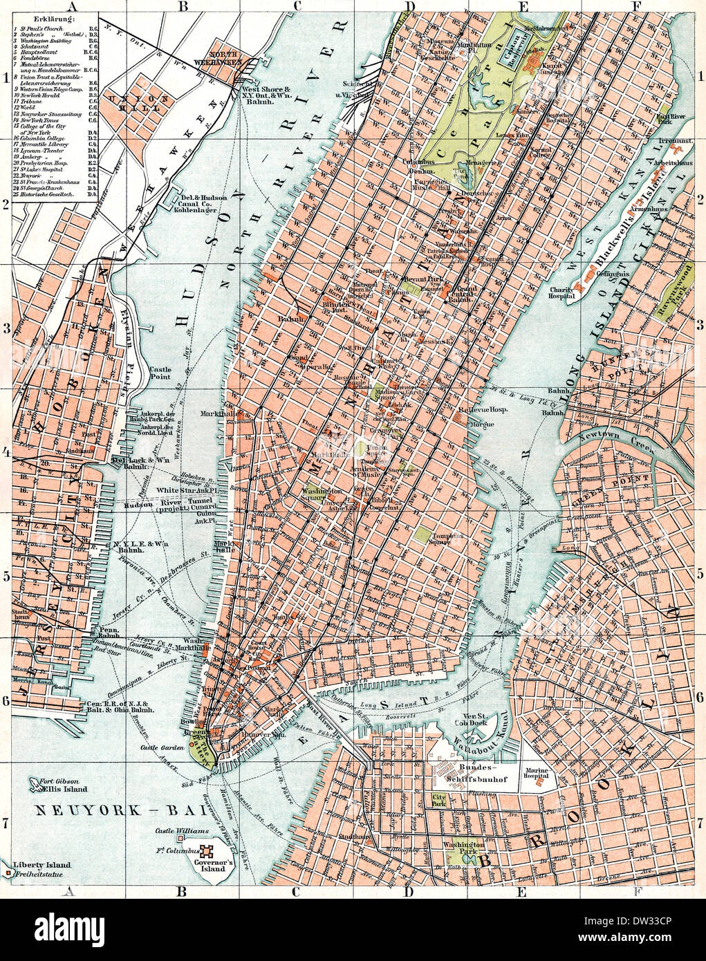 historical map of new york city usa 1896