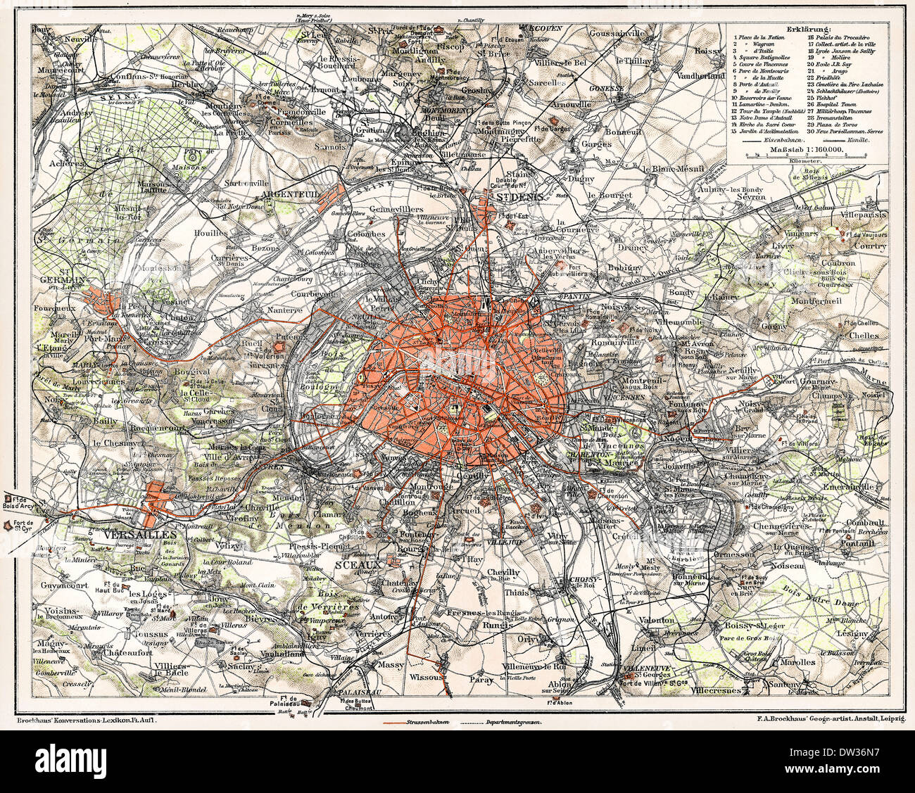 Historical map of Paris, France, 1896, - Stock Image
