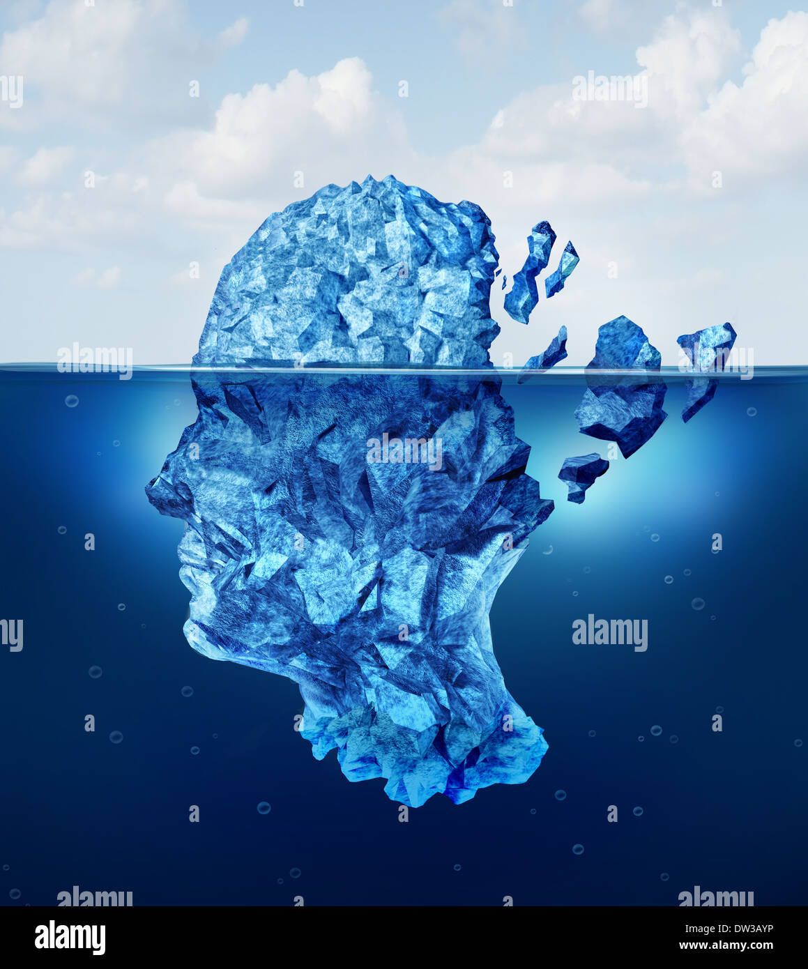 Brain trauma and aging or neurological damage concept as an iceberg floating in an ocean breaking apart as a health crisis metap - Stock Image
