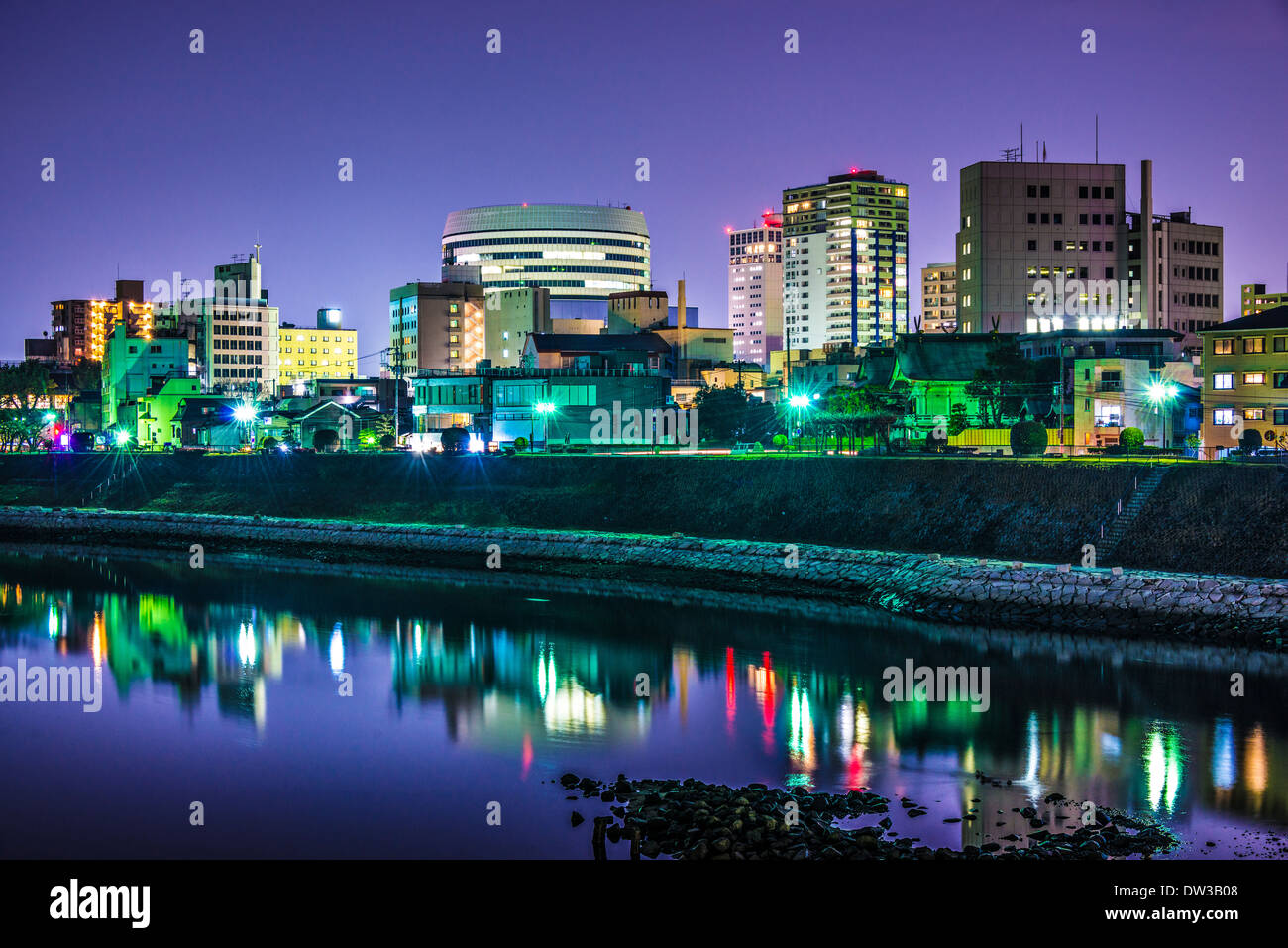Okayama, Japan at cityscape on the Asahi River. - Stock Image
