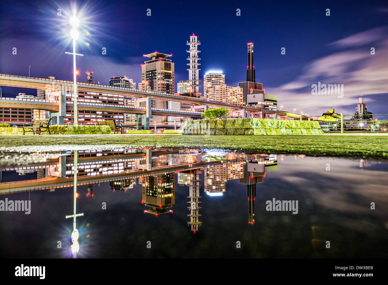 Kobe, Japan city skyline viewed from the Harborland district. - Stock Image