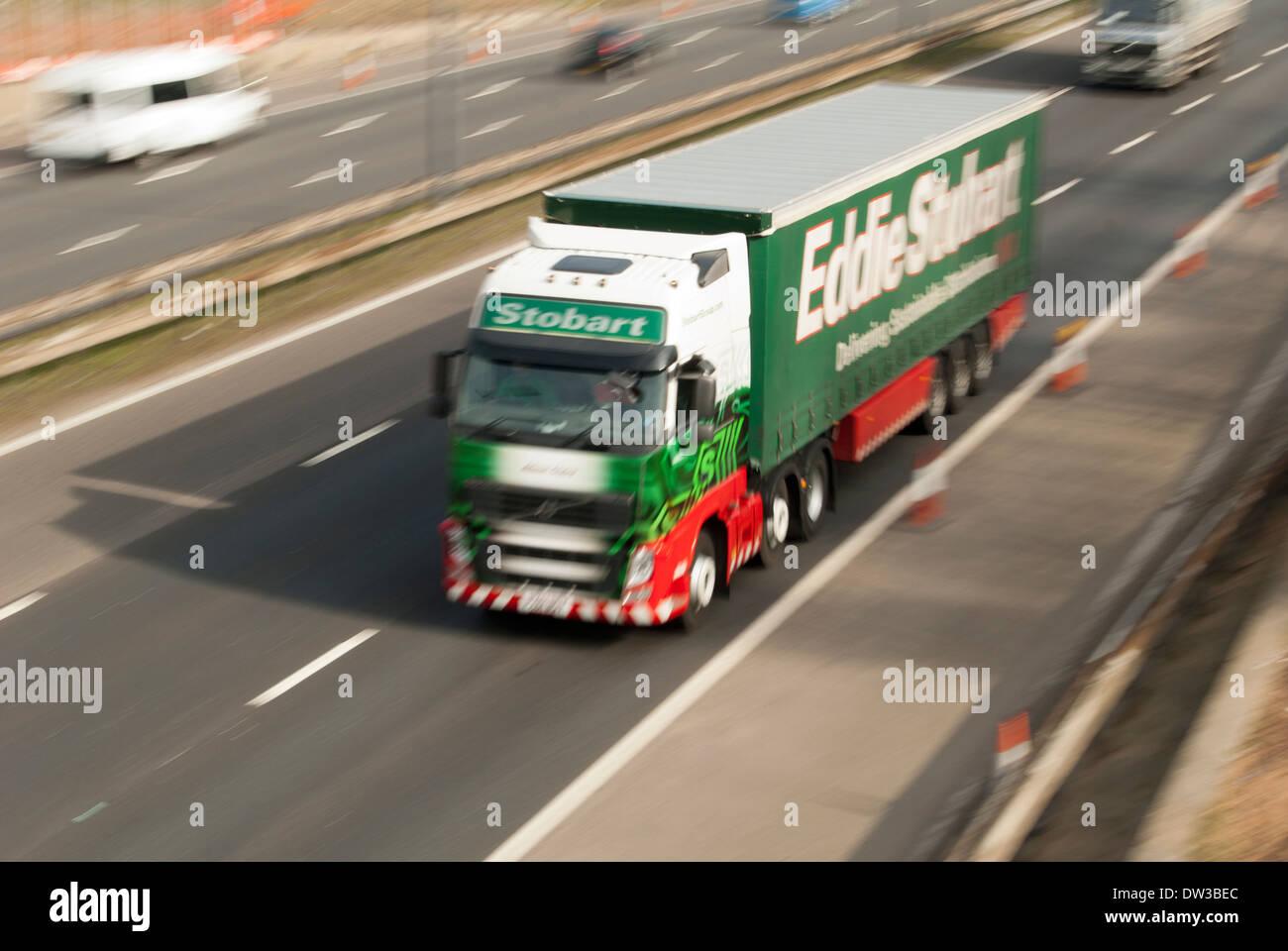 Eddie Stobart HGV truck driving along M62 motorway, Cheshire, UK - Stock Image