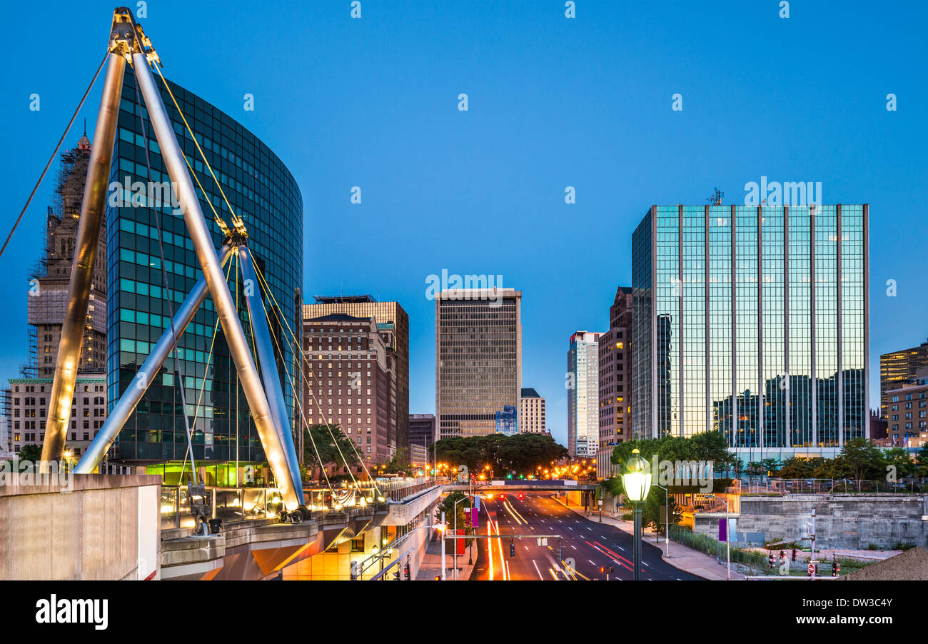 Hartford, Connecticut, USA downtown cityscape at dawn. - Stock Image