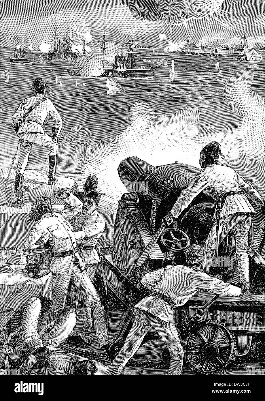 The Bombardment of Alexandria, in 1882, by the British Mediterranean Fleet - Stock Image