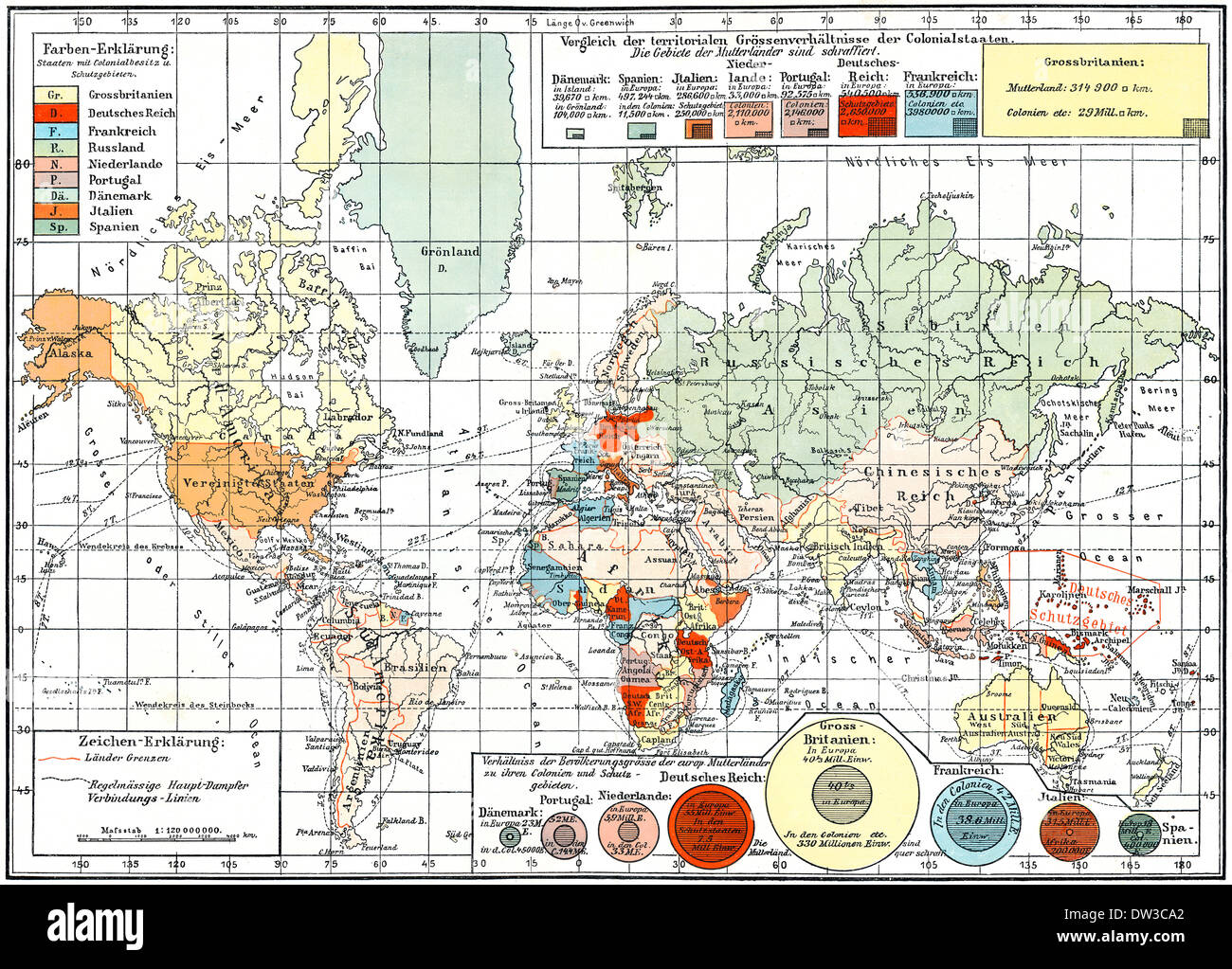 Map of colonial empires throughout the world, end of the 19th century, - Stock Image